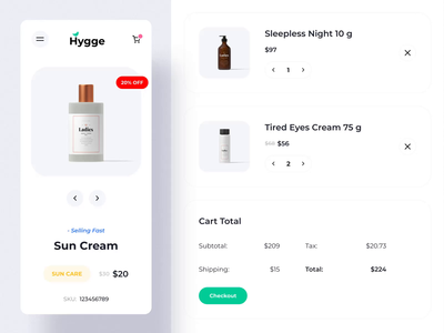 Hygge - eCommerce IV cart cosmetics mobile ux ui motion-design ui8 after-effects motion animation