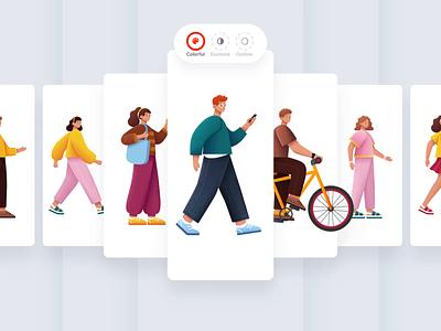 The Sapiens I web illustrations startup ui8 web design character design builder character webapp free