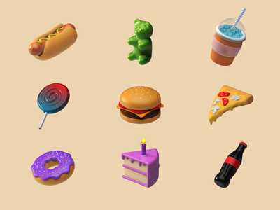 3D Icons Pack - Food II icecream sushi cola pizza cake donuts burger food motion animation