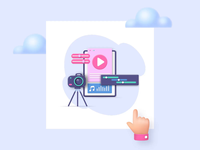 Visual Design Illustrations I library vectors hand clouds ballon after-effects ui8 motion animation