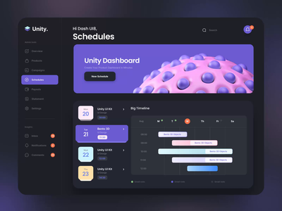 Unity Dashboard Kit - Schedules design motiongraphics ux ui motion-design after-effects ui8 motion animation