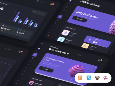 Unity Coded Templates I templates coded ui8 motion 3d dashboard design ux ui html5 animation