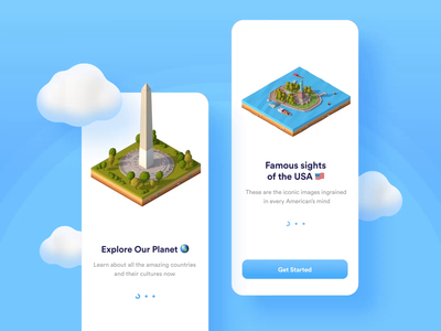 US Landmarks 3d cinema4d ux ui motion-design after-effects ui8 motion animation
