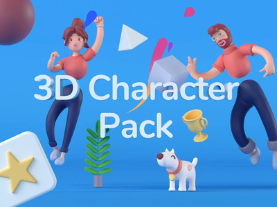 3D Character Pack I figma obj cinema4d 3d characters design after-effects ux ui motion-design ui8 motion animation