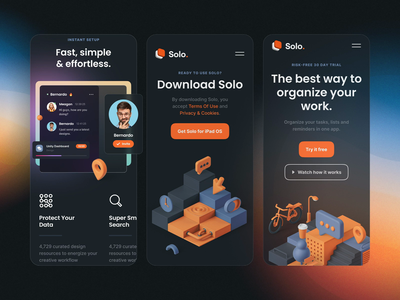 Solo: SaaS Landing Page Kit I mobile motiongraphics ux ui design motion-design after-effects ui8 motion animation