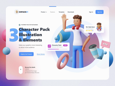 3D Character Pack & Elements concept character 3d motiongraphics motion-design ux ui design after-effects ui8 motion animation