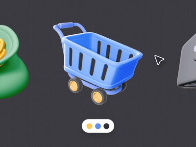 Free 3D Finance Icons basket wallet money icons finance freebies ux ui motion-design after-effects ui8 motion animation