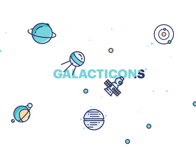 Galacticons Animated galaxy cosmonaut planet rocket spaceship ufo space motion-design illustration motiongraphics ui8 after-effects motion animation