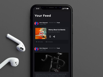 Your Feed in the Music App feed urban music app illustration mobile iphone motiongraphics design ux ui motion-design after-effects ui8 motion animation