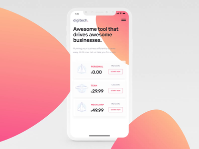 Pricing Screen branding mobile iphone design ux ui motion-design after-effects ui8 motion animation