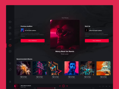 Hologram Radio motiongraphics music app ux design ui motion-design after-effects ui8 motion animation