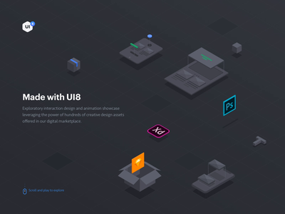 Made With Ui8 icon food app fashion app music app vector mobile iphone illustration motiongraphics ux ui design motion-design after-effects ui8 motion animation
