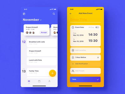 Mellow Calendar Screens themes mobile iphone vector motiongraphics ux ui design ui8 motion-design after-effects motion animation