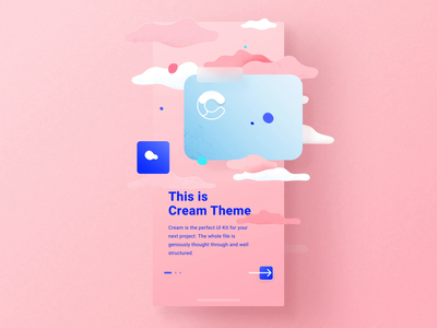 Cream iOS UI Kit Walkthroughs mobile vector illustration ux ui design motion-design ui8 after-effects motion animation