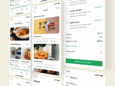 Foodly UI Kit Presentation I food app motiongraphics ux iphone mobile ui design motion-design ui8 after-effects motion animation