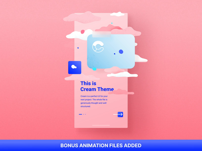 Cream iOS UI Kit. Bonus illustration motiongraphics ux ui design motion-design ui8 after-effects motion animation