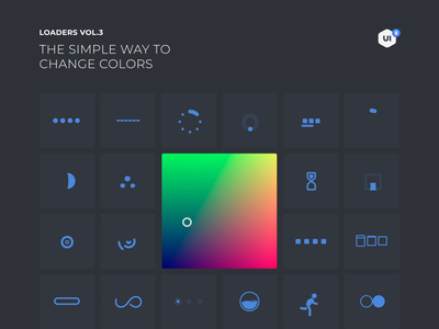 Loaders Vol3. Colors svg loaders motiongraphics ux ui design motion-design ui8 after-effects motion animation