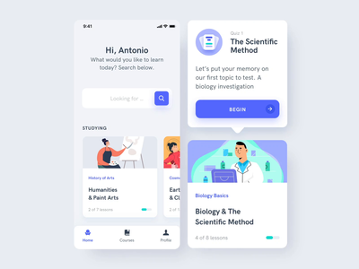Estudio Mobile App UI Kit I iphone motion animation after-effects motion-design kit ui8 ux ui educational tests biology online courses learning education
