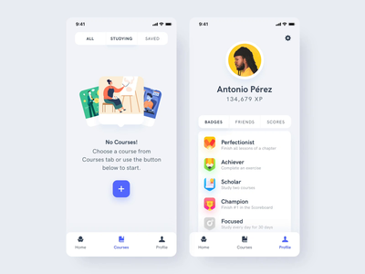 Estudio Mobile App UI Kit II courses education mobile illustration motiongraphics ui ux design motion-design ui8 after-effects motion animation
