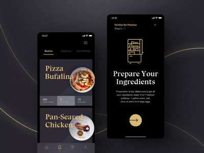 Sheek Food iOS UI Kit I cookbook foodapp cooking app cooking cook motiongraphics ux ui design motion-design ui8 after-effects motion animation