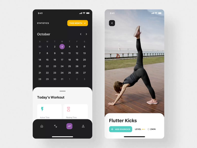 Savage iOS UI Kit I training app workout app sport fitness app mobile motiongraphics ux ui design motion-design ui8 after-effects motion animation