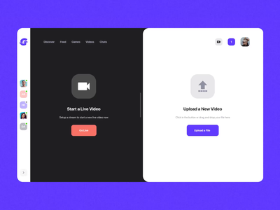 Glitch Gaming Platform UI Kit II video upload stream gaming app game ux ui design motion-design ui8 after-effects motion animation