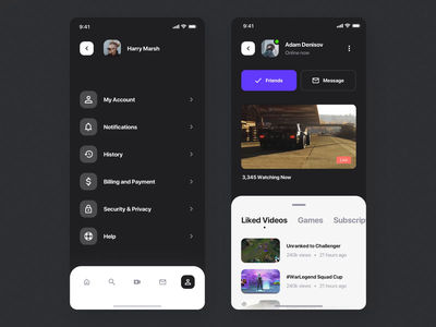 Glitch Gaming Platform UI Kit III notifications stream gaming app game iphone mobile motiongraphics design ux ui motion-design ui8 after-effects motion animation