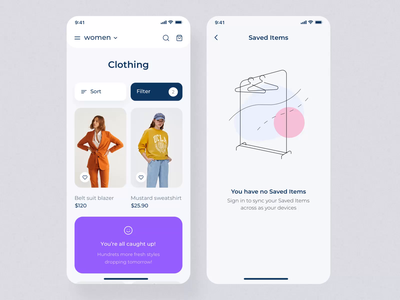 Clother UI mobile KIT II saved items filter shopping shop app clothing illustration motiongraphics ux ui design motion-design ui8 after-effects motion animation