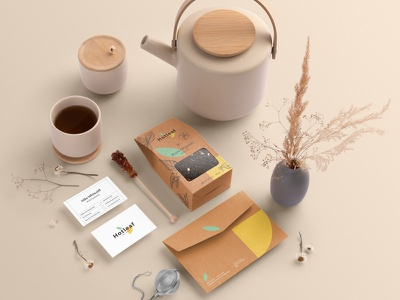 Hotleaf – Teahouse Branding Mockup Kit plants floral container leaves card logo presentation identity teahouse retail portfolio freebiecontainer free psd download templates mockup tea packaging branding