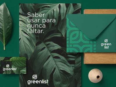 Greenlist Brand Identity brochure typography branding mockup portfolio brand letterhead freebie free business card presentation identity logo showcase mockupcloud stationery download template psd mockup branding
