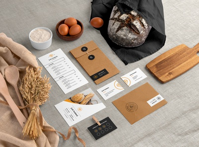 Just baked. - Bakery Brand Identity baguette loaf pastry bakehouse bread store bread shop brand business card presentation identity logo mockupcloud stationery packaging template psd mockup branding bread bakery
