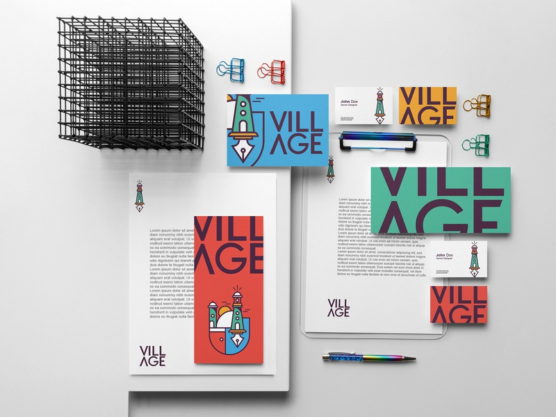 VILLAGE branding brochure typography branding mockup portfolio brand letterhead freebie free business card presentation identity logo showcase mockupcloud stationery download template psd mockup branding