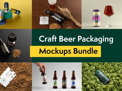 Craft Beer Packaging Mockups bottle can portfolio craft brand beer freebie free business card presentation identity logo packaging mockupcloud stationery download template psd mockup branding