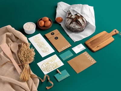 Borland Bakery Branding baguette loaf pastry bakehouse bread store bread shop brand business card presentation identity logo mockupcloud stationery packaging template psd mockup branding bread bakery