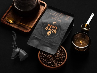 Black Gold Coffee Roaster Branding coffee house blend brew coffee packaging brand letterhead freebie free business card presentation identity logo mockupcloud stationery download template psd mockup branding