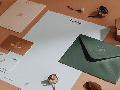 Boustan - Brand Identity brochure typography branding mockup portfolio brand letterhead freebie free business card presentation identity logo showcase mockupcloud stationery download template psd mockup branding