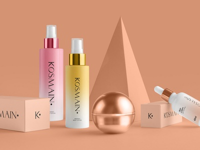 KOSMAIN Brand & Packaging Identity branding mockup portfolio brand freebie bottle business card presentation identity showcase mockupcloud stationery healthcare beauty packaging cosmetics download template psd mockup branding