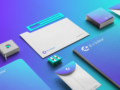 E-ridez brand design. brochure typography branding mockup portfolio brand letterhead freebie free business card presentation identity logo showcase mockupcloud stationery download template psd mockup branding