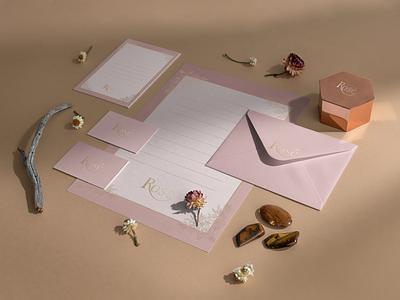 Rosé Jewellery Branding logo illustration design identity showcase brand psd branding template mockup