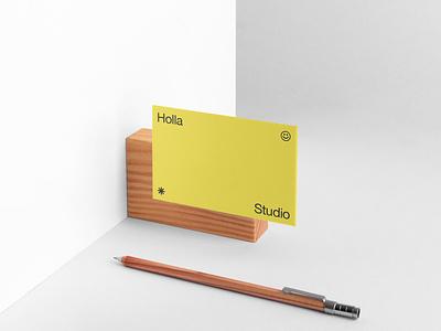 Holla Studio Identity business card stationery download mokupcloud graphic design logo illustration design identity showcase brand psd branding template mockup