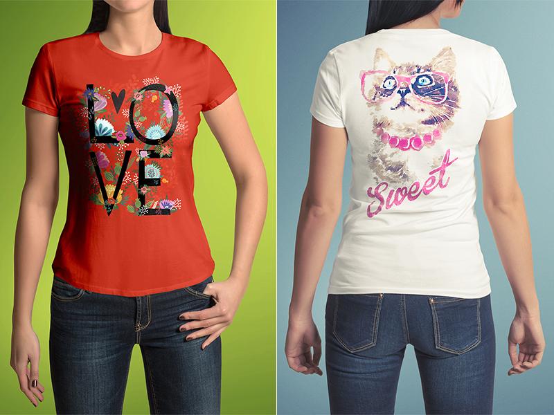T-Shirt Mock-Up Female Model / Classic Edition by Mockup Cloud ...