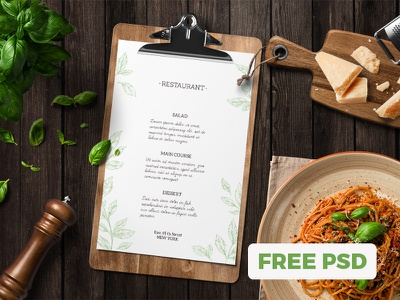 Kitchen Ready Mockup Free Scene Nr. 1 restaurant menu food header psd showcase presentation scene template mockup freebie free