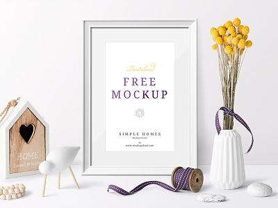 Free Simple Homes Mockup Scenes decor header hero poster frame feminine psd free template mockup branding freebie