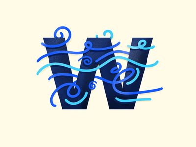 w - #36DaysOfType lines pattern abstract procreate wave water 36daysoftype