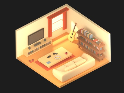 Isometric Living Room volumetric design gaming pizza guitar interior design isometric cycles blender 3d