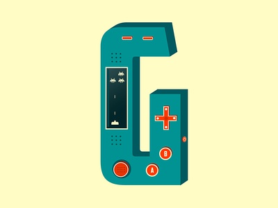 G for Gaming illustration console gameboy letters typography days of type retro 8 bit space invaders game gaming