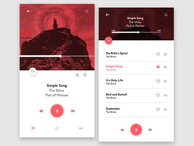 Music Player UI design material flat minimal icon mockup ux ui user interface interface player music