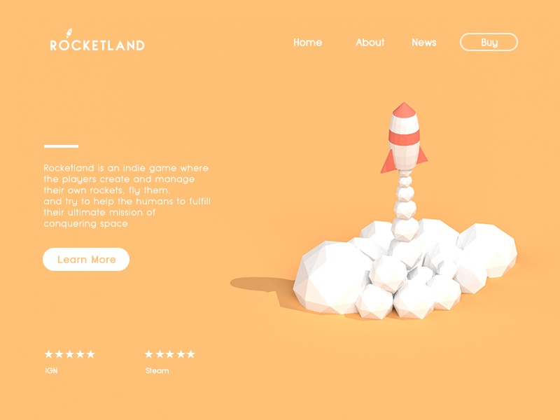 Landing Page - Rocketland 3d low poly rocket clean minimal interface ux ui website landing page 003 dailyui