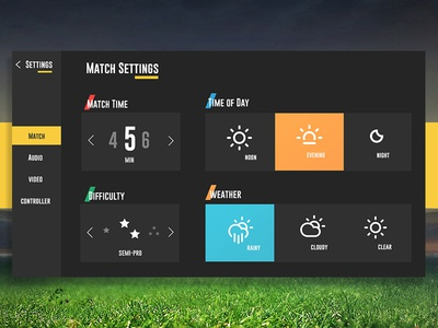 FIFA Settings concept: Daily UI 007 climacons weather game ui settings gaming football fifa