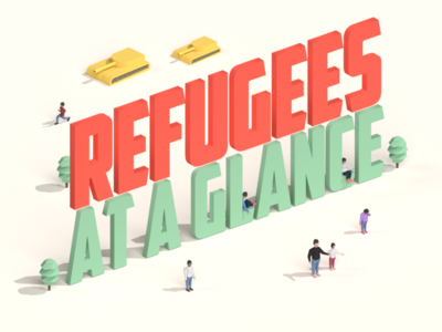 Refugee Infographic Header people human isometric render tank infographic crisis refugee low poly 3d